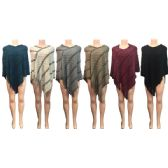Wholesale Winter Knitted Poncho Two Tone Square Pattern Assorted