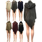 Wholesale Winter Knitted Poncho with Hood and Glittery Section
