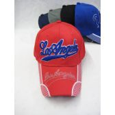 """Los Angeles"" Base Ball Cap In Assorted Colors Red, Blue, Black"