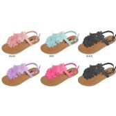 GIRLS T-STRAP SANDAL WITH FLOWERS AND RHINESTONE