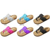 GIRLS THONG FOOTBED SANDALS WITH MATCHING BUCKLE AND PRINTED FOOTBED
