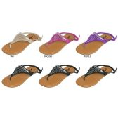 GIRLS MICROSUEDE THONG SANDAL WITH IRRIDESCENT RHINESTONE DETAIL
