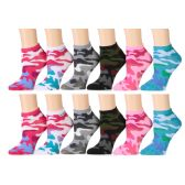 Camouflage Womens Cotton Blend Ankle Socks