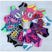 Assorted Pritns Womens Cotton Blend Ankle Socks