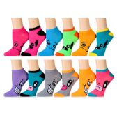 Assorted Prints Womens Cotton Blend Ankle Socks
