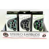 Wholesale TwoTone Stereo Earbuds w/In-Line Microphone