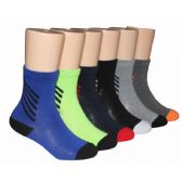 Boys Solid Crew Socks With Stripe Ankle