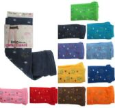 Assorted colored capri tights with star designs.