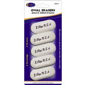 Oval Shaped Erasers 5 Count - White