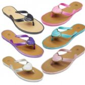Womans Fashion PVC Flip Flop With Heart Embellishment