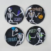 4 Asst 8in Round Partying Skeletons Dessert Plate