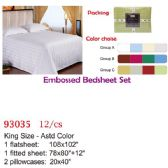 Embossed bed sheet set/King