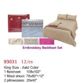 Embroidery bed sheet set/King