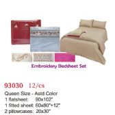 Embroidery bed sheet set/Queen