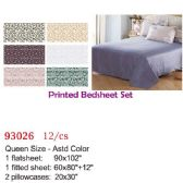 Printed bed sheet set/Queen