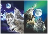 3D Picture 9704--Three Howling Wolves with Moon
