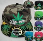 Snap Back Flat Bill Hat [YES WE CANNABIS] Screen Print Bill