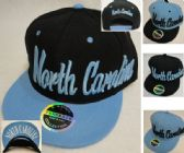 HT1205. Snap Back Flat Bill Hat [North Carolina] Script