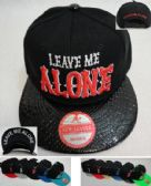 Snap Back Flat Bill Hat [LEAVE ME ALONE] Textured Bill