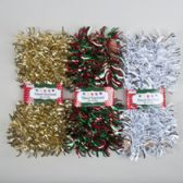 Garland Tinsel 9ft Flipped Out Gold/red-green/silver White On Peggable Tcd W/belly Band