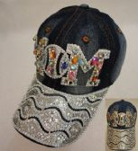 Denim Hat with Bling [Baseball MOM] Colored Gems