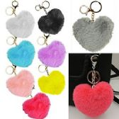 FAUX FURRY HEART ZIPPER PULL KEYCHAINS