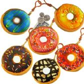 PLUSH DOUGHNUT COIN PURSE KEYCHAINS.