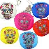 PLUSH DAY OF THE DEAD SKULL COIN PURSE KEYCHAINS