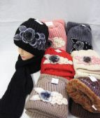 Winter Fashion Ladies Scarf And Hat Set With Flower