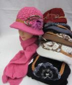 Womens Fashion Winter Hat And Scarf Set With Flower