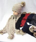 Womens Winter Warm Hat And Scarf Set With Pom POm