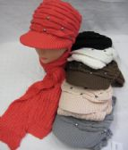 Womens Fashion Winter Warm Hat And Scarf Set With Rhinestones