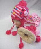 Girls Winter Beanie With Flowers And Rhinestones