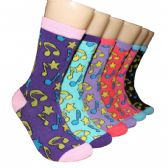 Women's Musical Notes Printed Crew Socks