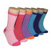 Women's Printed Crew Socks Dotted Pattern