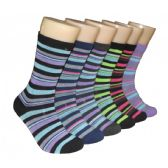 Women's Printed Crew Socks Colorful Stripes