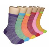 Women's Bright Color Marled Crew Socks