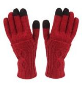DOUBLE LAYER KNIT GLOVE WITH SCREEN TOUCH ASSORTED COLORS