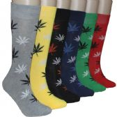 Men's Marijuana Leaf Print Crew Socks