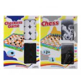 2 Assorted Checkers Game & Chess Game In Window Box
