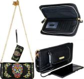 Montana West Phone Charging Sugar Skull Collection Clutch BLACK