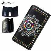 Montana West Concho Collection Secretary Style Wallet Black