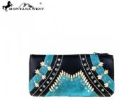 Montana West Western Tooling Collection Wallet Black Turquoise