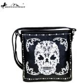Montana West Sugar Skull Collection Crossbody Bag Black/White