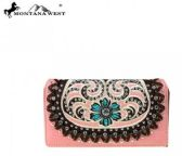 Montana West Concho Collection Secretary Style Wallet PINK