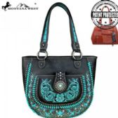Montana West Concho Collection Concealed Handgun Tote Black Torquoise