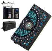 Montana West Concho Collection Wallet Studded Black