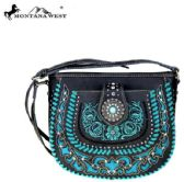 Montana West Concho Collection Crossbody Bag Black