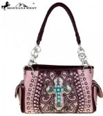 Montana West Spiritual Collection Satchel Vintage Cross Pink