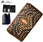Montana West Bling Bling Collection Secretary Style Wallet Brown